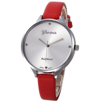 Fashion Faux Leather Analog Quartz Watch