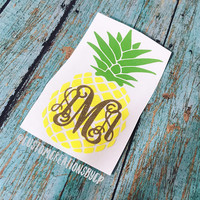 Pineapple Decal, Yeti Decal, Car Decal, Pineapple Monogram Decal, Laptop Decal, Pineapple Sticker, Tumbler Decal, Yeti Monogram Sticker