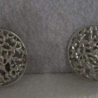 Round Filigree Clip On Earrings Domed Circle Button Silver Tone Vintage Costume Jewelry