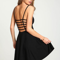 BLACK CAGE BACK FLARE DRESS