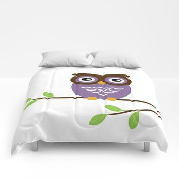 Purple Owl Comforters by UMe Images