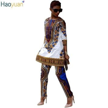 2017 Women Vintage African Print Dresses Two Piece Set Outfits Round Neck Dashiki Dress Autumn Ladies Casual Sexy Indian Dresses