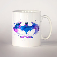 Batman coffee mug 3, Batman watercolor Tea Cup, coffee cup 11 oz. Mug art, Ceramic Mug art Dark knight Batman Fan Gift, Superhero art