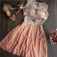 Summer Women Sexy Elegant Lace Patchwork Dress = 1946263940