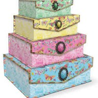 Flutter (Butterfly) Decorative Nested Boxes with Brooches