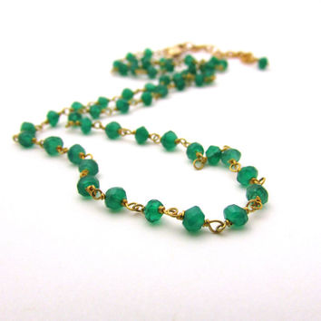 Green onyx necklace, wire wrapped rosary necklace, gold vermeil green onyx jewelry, May birthstone jewelry, emerald green gemstone necklace