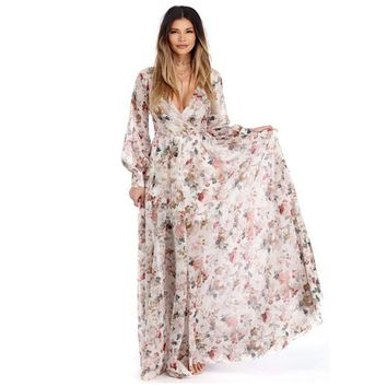 Plus Size Maxi Dresses For Women Floral V Neck Long Sleeve Chiffon Party Dresses Elegent Long Evening Boho Casual Dress Vestidos