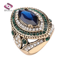 Luxury Big Sapphire Jewelry Vintage Wedding Rings For Women Plating Gold Mosaic Green Crystal 2016 New Fashion Accessories