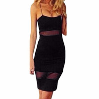Women Sexy Sleeveless Bandage Bodycon  Style Lace Sling Strapless Evening Party Ladies Dress Robe Femme vestidos  #23 BL