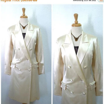 SALE Jacket - Coat Pamela Dennis Couture Ivory Vintage 60s Evening Wedding Formal Women M