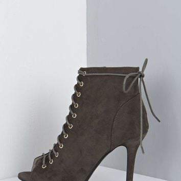 Lexi Ghillie Lace Up Peep Toe Shoe Boot
