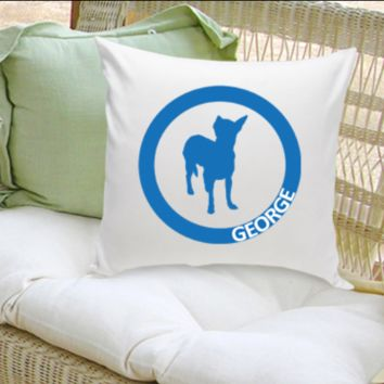 Classic Circle Silhouette Personalized Dog Throw Pillow