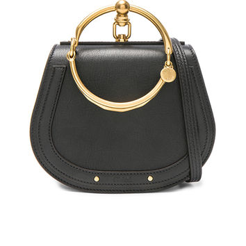 Chloe Small Nile Calfskin & Suede Bracelet Bag in Black | FWRD