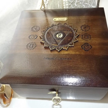 THROAT Chakra - LOCKABLE Box. Handmade wooden with Throat Chakra PENDANT. Box can be PERSONALiSED by you with an additional Brass Plaque.