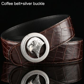 Stefano Ricci Trendy Eagle Head Buttoned Men's Wild Crocodile Belt Coffee belt+silver buckle