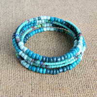 bimini beaded bracelet, memory wire, blue, beach, seed bead,