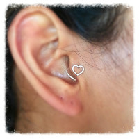 Valentines Day Sterling Silver Heart Tragus Earring