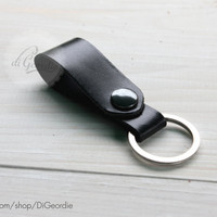 Leather keychain black leather key fob key chain genuine leather key chain belt strap key fob keychain leather key holder keychain leather