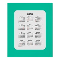 2016 Aqua Marine Holiday Calendar by Janz Print