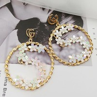 GUCCI Popular Women Sweet Stylish letter Earring Flower Number 5 Round Big Earrings Jewelry I12316-1