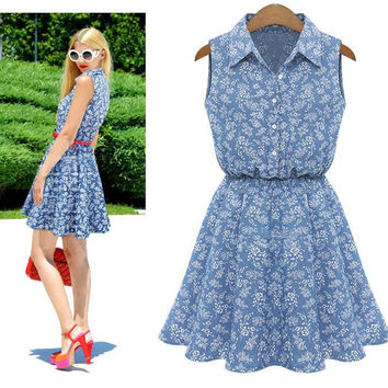 Sleeveless Slim Stylish Denim Shirt One Piece Dress [10399294733]