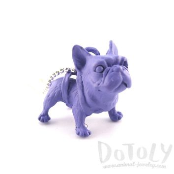 3D Standing French Bulldog Dog Shaped Pendant Necklace in Purple