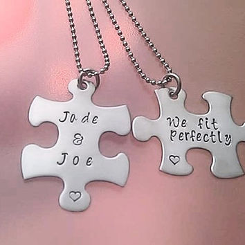 Customizable Puzzle Piece Necklace Set we fit perfectly