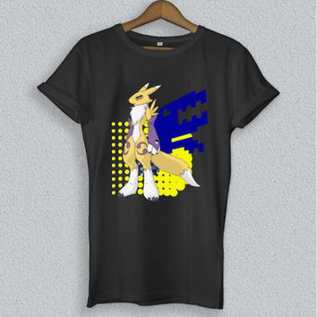 Renamon Digimon Anime Short Sleeve 100% Cotton Black T-Shirt Size S to XL