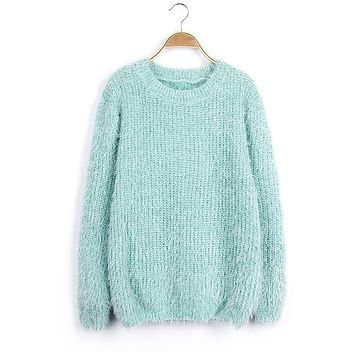 Womens Warm Fuzzy Casual Sweater