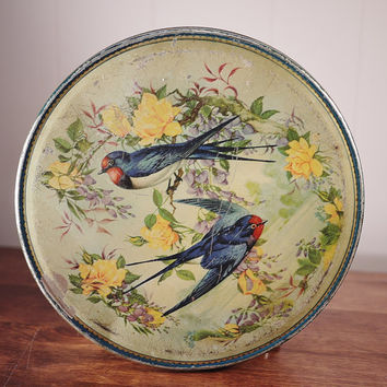 Vintage Birds and Yellow Roses McVitie & Prices Biscuits / Cookie Tin Box