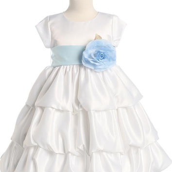 Satin Bubble Flower Girl Dress - White - Girls BL204