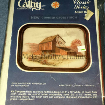 Cathy Amish Barn Vintage Counted Cross Stitch Kit Unopened