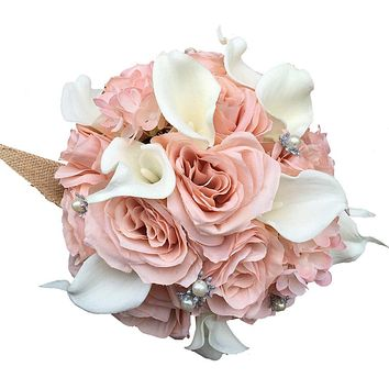 Artificial Bridal Bouquet - Blush Pink Roses and White Calla Lilies with Silver Accents