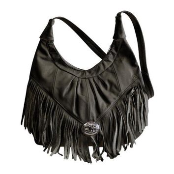Womens Shoulder Handbag Fringe Hobo Bag Light Soft Genuine Leather Purse Black