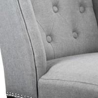 Set of 4 Grey Elegant Dining Side Chairs Button Tufted Fabric w Nailhead 54B - Walmart.com