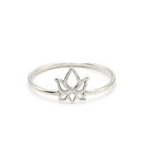 Sterling Silver Lotus Ring