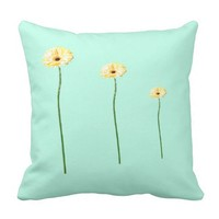 Three Yellow Gerbera Flowers Cushion
