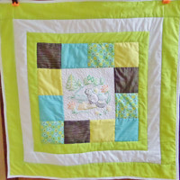 Homemade baby quilt - Beaver spring woodland animal quilt or blanket - Ready to ship measures 32x32