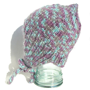 Pixie Earflap Hat with Strings Adult Large in Purple and Blue Acrylic and Wool Blend