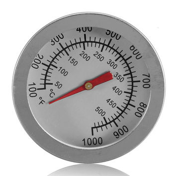 "Bakeware F/C 2"" Stainless Steel BBQ Smoker Pit Grill Bimetallic thermometer Temp Gauge with Dual Gage 500 Degree Cooking Tools"