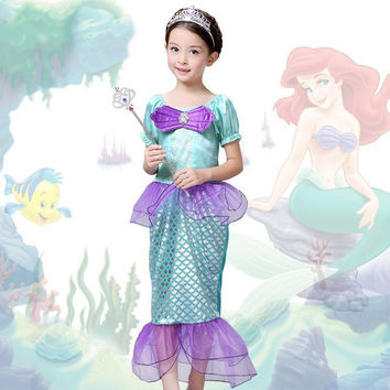 The Little Mermaid  Kids Girls Dress Princess Cosplay Halloween Costume Hot