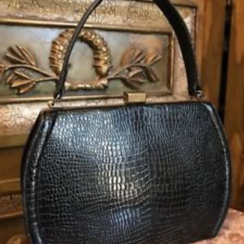 Vintage Black Structured Hand Bag Textured Lennox Bags