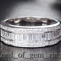 Baguette/Round Diamond Wedding Band Anniversary Ring 14K White Gold Channel Set 1.88ctw