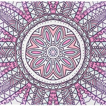 Pink Floral Retro Vintage Design Boho Wall Tapestry Hippy Yoga Meditation Mandala Wall Hanging Bohemian Distressed Tapestry
