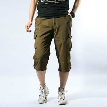 Summer Outdoor Men Hiking Travel Baggy Multi Pocket Calf Length Trouser Large Size Tactical Military Cargo Shorts Short Breeches