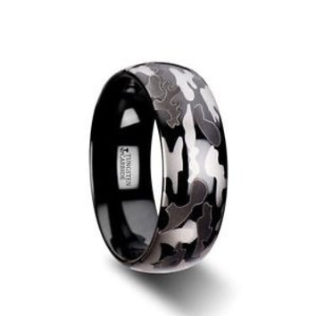 ADMIRAL Domed Tungsten Carbide Ring Black & Gray Camo Pattern