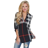 Plaid Women Blouses Autumn Ladies Top V Neck Blusas Femininas Shirt Three-quarter Sleeve Vintage Camisa Feminina LJ4950T