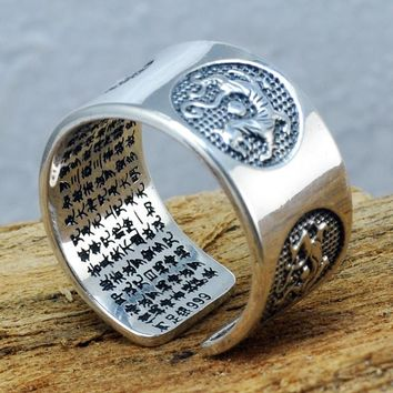 999 Pure Silver Mens Rings Carving Sutra Chinese Mythical Four Animals Dragon Tiger Tortoise Bird Prayer Healing Jewelry
