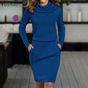 Classic Sexy Cowl Neck Long Sleeve Knee Length Bodycon Dress