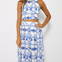 White Tile Printed Cross Back Top and High-Waist Pleated Midi Skirt